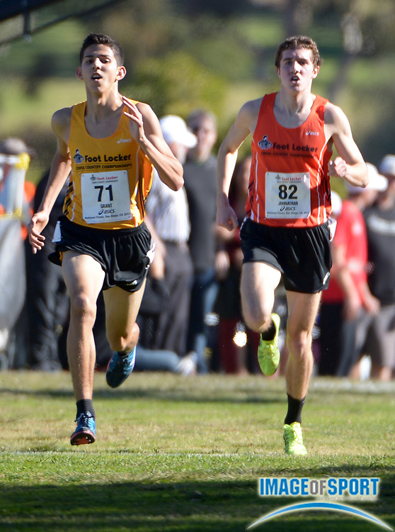 Dec 14, 2013; San Diego, CA, USA; Grant Fisher of Grand Blanc High (Mich.), left, defeats John Dressel of Mt. Spokane High (Wash.) to win the boys race, 15:07 to 15:10, in the 2013 Foot Locker cross country championships at Morley Field.