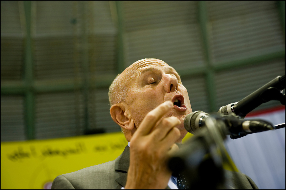 Ahmed Nejib Chebbi during his speech at the first political meeting of the PDP (Left progressive Democrats) since Ben Ali's escape the country, the meeting takes place in Olympic stadium of El Menzah in the presence of the rapper El Général, of the mom of Mohamed Bouazizi, martyr of the revolution and the leader of the party for the next presidential elections Ahmed Nejib Chebbi, current Minister of the regional and local development in the government of transition, Tunis on January 29, 2011. Copyright Benjamin Girette