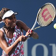 Venus Williams, USA, in action against Bethanie Mattek-Sands, USA, during the US Open Tennis Tournament, Flushing, New York. USA. 28th August 2012. Photo Tim Clayton