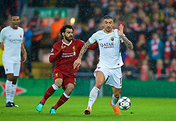 LIVERPOOL, ENGLAND - Tuesday, April 24, 2018: Liverpool's Mohamed Salah (left) and AS Roma's Aleksandar Kolarov during the UEFA Champions League Semi-Final 1st Leg match between Liverpool FC and AS Roma at Anfield. (Pic by David Rawcliffe/Propaganda)