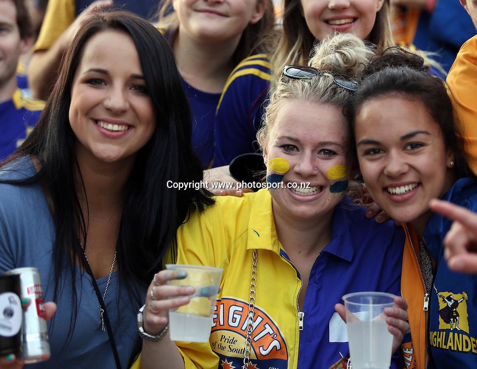Highlanders fans.<br /> Super Rugby - Highlanders v Crusaders, 22 February 2013, Forsyth Barr Stadium, Dunedin, New Zealand.<br /> Photo: Rob Jefferies / photosport.co.nz