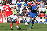 AFC Wimbledon striker Kwesi Appiah (9) getsthe cross in past Fleetwood Town defender Cian Bolger (12) during the EFL Sky Bet League 1 match between Fleetwood Town and AFC Wimbledon at the Highbury Stadium, Fleetwood, England on 4 August 2018. Picture by Craig Galloway.