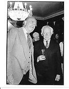 Claus von Bulow and Desmond Guinness. Memorial Celebration for Jessica Mitford. Lyric Theatre, Shaftesbury Ave, London. 16 Feb 1997. © Copyright Photograph by Dafydd Jones 66 Stockwell Park Rd. London SW9 0DA Tel 020 7733 0108 www.dafjones.com