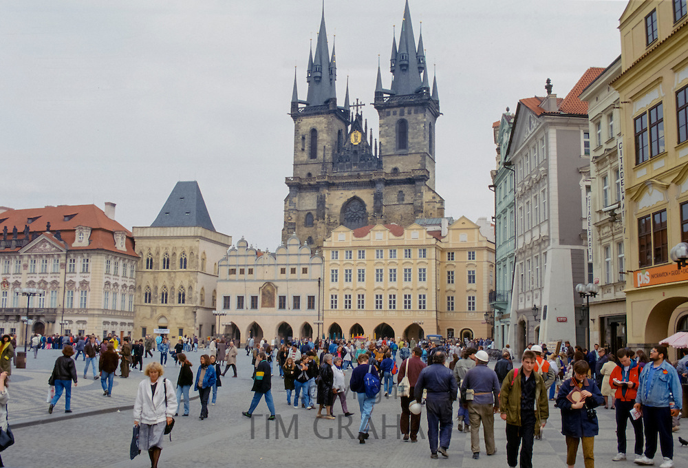 Tyn Church, City Hall and Old Town Square in Prague, Czech Republic, formerly Czechoslovakia