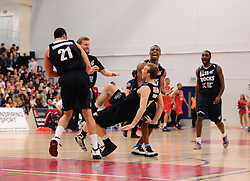 Glasgow Rocks Players celebrate - Photo mandatory by-line: Joe Meredith/JMP - Mobile: 07966 386802 - 11/04/2015 - SPORT - Basketball - Bristol - SGS Wise Campus - Bristol Flyers v Glasgow Rocks - British Basketball League