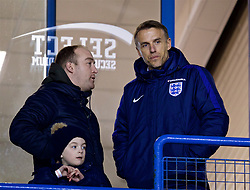 WIDNES, ENGLAND - Wednesday, February 7, 2018: New England national women's team manager Phil Neville before the FA Women's Super League 1 match between Liverpool Ladies FC and Arsenal Ladies FC at the Halton Stadium. (Pic by David Rawcliffe/Propaganda)
