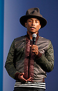 Pharrell Williams speaks during the press conference to announce Pharrell Wiliams' collaboration with Bionic Yarn and G-Star Raw at the Museum of Natural History in New York City, New York on February 08, 2014. Photo by Donna Ward/ABACAUSA.COM