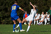 Rice's Grace Miller (10) and Milton's Caitlyn Dabagian (10) battle for the ball during the girls soccer game between the Milton Yellowjackets and the Rice Green Knights at Rice Memorial High School on Saturday afternoon October 3, 2015 in South Burlington. (BRIAN JENKINS/ for the FREE PRESS)
