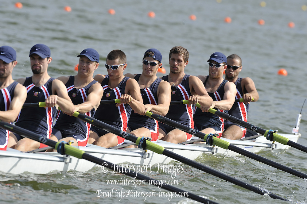 Brandenburg, GERMANY, USA BM8+, Bow Alexander OSBOURNE, Charles COLE, Blaise DIDIER, Henrik RUMMEL, Silas STAFFORD, Derek RASMUSSEN, Ross JAMES, Grant JAMES and cox, Daniel CONNOLLY,   2008 FISA U23 World Rowing Championships, Saturday, 19/07/2008, [Mandatory credit: Peter Spurrier Intersport Images].... Rowing Course: Brandenburg, Havel Rowing Course, Brandenburg, GERMANY