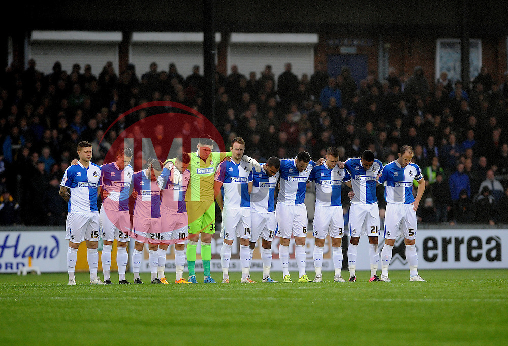 Bristol Rovers observe a minutes silence for the victims of the Paris terrorist attack - Mandatory byline: Neil Brookman/JMP - 07966 386802 - 14/11/2015 - FOOTBALL - Memorial Stadium - Bristol, England - Bristol Rovers v Carlisle United - Sky Bet League Two