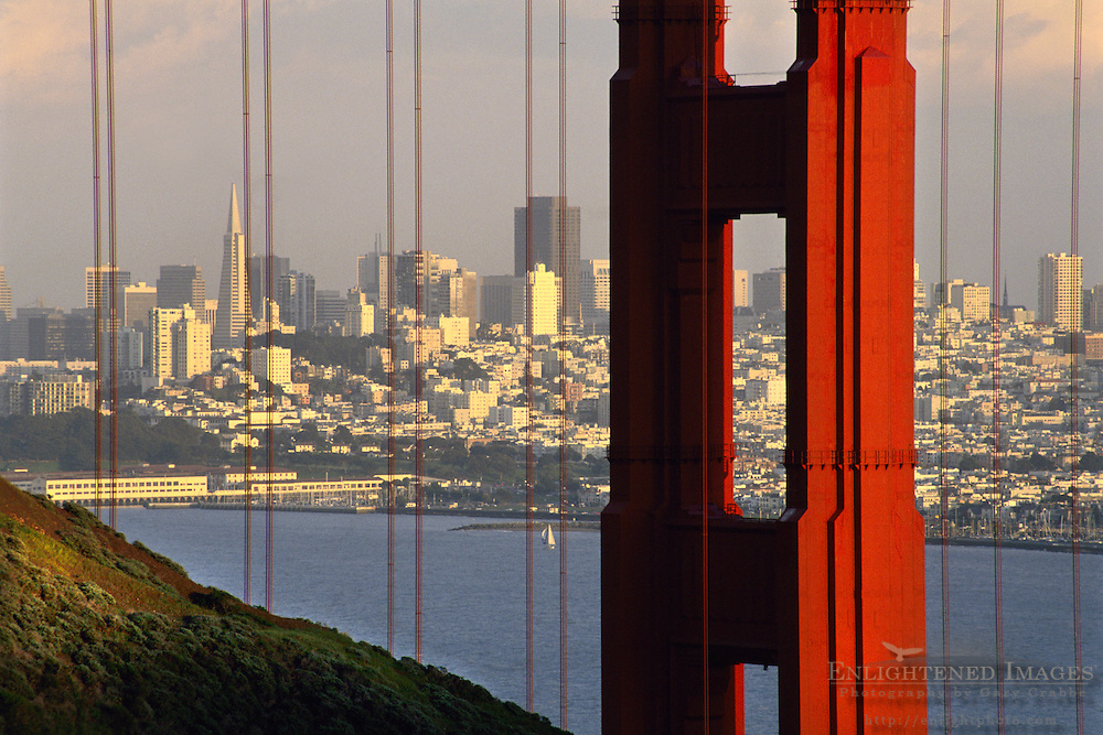 San Francisco and the Golden Gate Bridge at sunset seen from the Marin Headlands, California