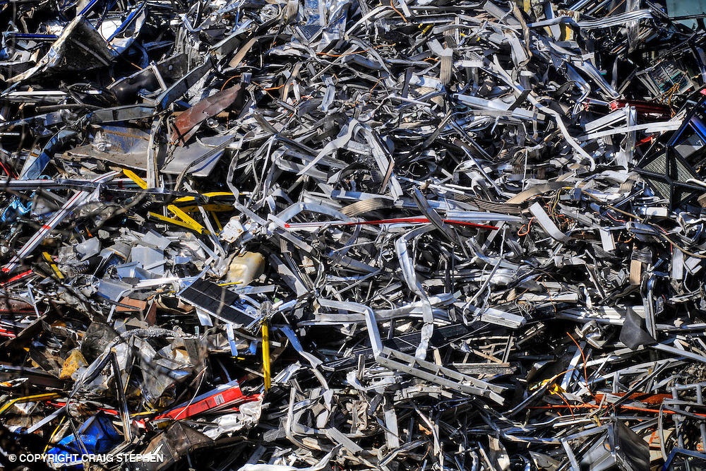A pile of scrap metal waiting to be recycled