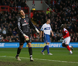 London, England - Saturday, January 13, 2007: Charlton Athletic's Jimmy-Floyd Hasselbaink celebrates the opening goal and Middlesbrough's Mark Schwarzer is gutted during the Premiership match at the Valley. (Pic by Chris Ratcliffe/Propaganda)