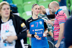 Vesna Milanovic-Litre of RK Krim Mercator and Lojze Grcman during handball match between RK Krim Mercator (SLO) and HCM Baia Mare (ROM) in 1st Round of Women's EHF Champions League 2015/16, on October 16, 2015 in Arena Stozice, Ljubljana, Slovenia. Photo by Urban Urbanc / Sportida