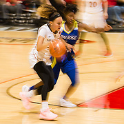 24 February 2018: The San Diego State women's basketball team closes out it's home schedule of the regular season Saturday afternoon against San Jose State. San Diego State Aztecs guard Naje Murray (10) drives the ball into the paint during the second half. The Aztecs beat the Spartans 85-78 at Viejas Arena.<br /> More game action at sdsuaztecphotos.com