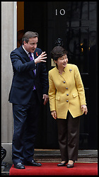President of the Republic of Korea Her Excellency Park Geun-hye meets Prime Minister David Cameron at No10 Downing Street, London, United Kingdom. Wednesday, 6th November 2013. Picture by Andrew Parsons / i-Images