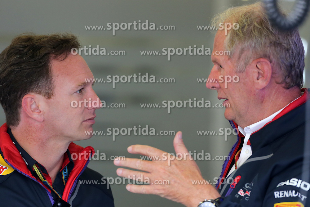 04.07.2014, Silverstone Circuit, Silverstone, ENG, FIA, Formel 1, Grand Prix von Grossbritannien, Training, im Bild Christian Horner (GBR) Red Bull Racing Team Principal and Dr Helmut Marko (AUT) Red Bull Motorsport Consultant // during the practice of British Formula One Grand Prix at the Silverstone Circuit in Silverstone, Great Britain on 2014/07/04. EXPA Pictures &copy; 2014, PhotoCredit: EXPA/ Sutton Images/ Davenport<br /> <br /> *****ATTENTION - for AUT, SLO, CRO, SRB, BIH, MAZ only*****