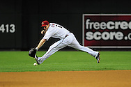 Apr. 29 2011; Phoenix, AZ, USA; Arizona Diamondbacks short stop Stephen Drew (6) reaches for a ground ball against the Chicago Cubs at Chase Field.  The Cubs defeated the Diamondbacks 4-2. Mandatory Credit: Jennifer Stewart-US PRESSWIRE
