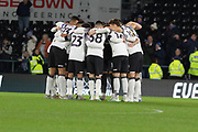 Derby County players before the EFL Sky Bet Championship match between Derby County and Sheffield Wednesday at the Pride Park, Derby, England on 11 December 2019.
