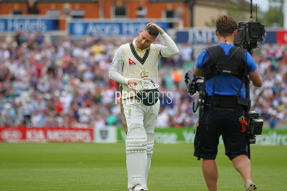 Michael Clarke captain of Australia walks to the pavilion out for 15 during the 1st day of the 5th Investec Ashes Test match between England and Australia at The Oval, London, United Kingdom on 20 August 2015. Photo by Phil Duncan.