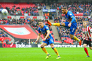 Shrewsbury Town's Carlton Morris shoots at goal during the EFL Trophy Final match between Lincoln City and Shrewsbury Town at Wembley Stadium, London, England on 8 April 2018. Picture by John Potts.