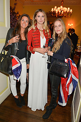 Left to right, ROSANNA CLARENCE-SMITH, SABRINA PERCY and HUM FLEMING at the Tatler Best of British party in association with Jaegar held at The Ritz, Piccadilly, London on 28th April 2015.