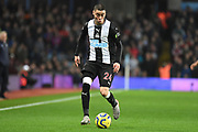 Newcastle United midfielder Miguel Almiron (24) sprints forward with the ball during the Premier League match between Aston Villa and Newcastle United at Villa Park, Birmingham, England on 25 November 2019.