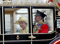 29 April 2011. London, England..Royal wedding day. HRH The Queen and Prince Philip. Royal departures at Westminster Abbey..Photo; Charlie Varley.