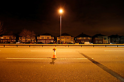 UK ENGLAND LONDON 24NOV10 - Conventional lighting column near a LED street lighting test site on the A40 Western Avenue, Greenford, London...Light-emitting diode (LED) lamps, combined with smart controls, can cut CO2 emissions 50 to 70%. Lighting accounts for nearly 10% of global CO2 emissions, more than cars worldwide...jre/Photo by Jiri Rezac..© Jiri Rezac 2010