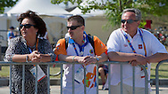 (L-R) Anna Komorowska - First Lady of Poland & Krzysztof Krukowski - Director Organizational Development Europe Eurasia Region Special Olympics & Janusz Wesolowski while cycling competition during 2011 Special Olympics World Summer Games Athens on June 27, 2011..The idea of Special Olympics is that, with appropriate motivation and guidance, each person with intellectual disabilities can train, enjoy and benefit from participation in individual and team competitions...Greece, Athens, June 27, 2011...Picture also available in RAW (NEF) or TIFF format on special request...For editorial use only. Any commercial or promotional use requires permission...Mandatory credit: Photo by © Adam Nurkiewicz / Mediasport