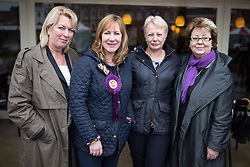 © Licensed to London News Pictures . 04/06/2014 . Newark , Nottinghamshire , UK . L-R Jill Seymour ( MEP for West Midlands ) , Janice Atkinson ( MEP for South East )  , Jane Collins ( MEP for Yorkshire and the Humber ) and Margot Parker ( MEP for East Midlands ) at UKIP Women MEPs event in Newark today (Wednesday 4th June 2014) ahead of the Newark by-election tomorrow (Thursday 5th June 2014) . Photo credit : Joel Goodman/LNP