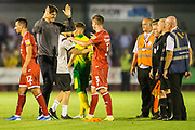 Gabriele Cioffi, Head Coach of Crawley Town FC celebrates the win for Crawley with Josh Doherty (Crawley Town) following the EFL Cup match between Crawley Town and Norwich City at The People's Pension Stadium, Crawley, England on 27 August 2019.