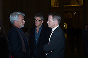 CHRIS DERCON; JAY JOPLING,; SIR NICHOLAS SEROTA, Opening for Nick Waplington's Alexander McQueen photography exhibition and Christina Mackie's Tate Britain Commission. Tate Britain. London. 23 March 2015