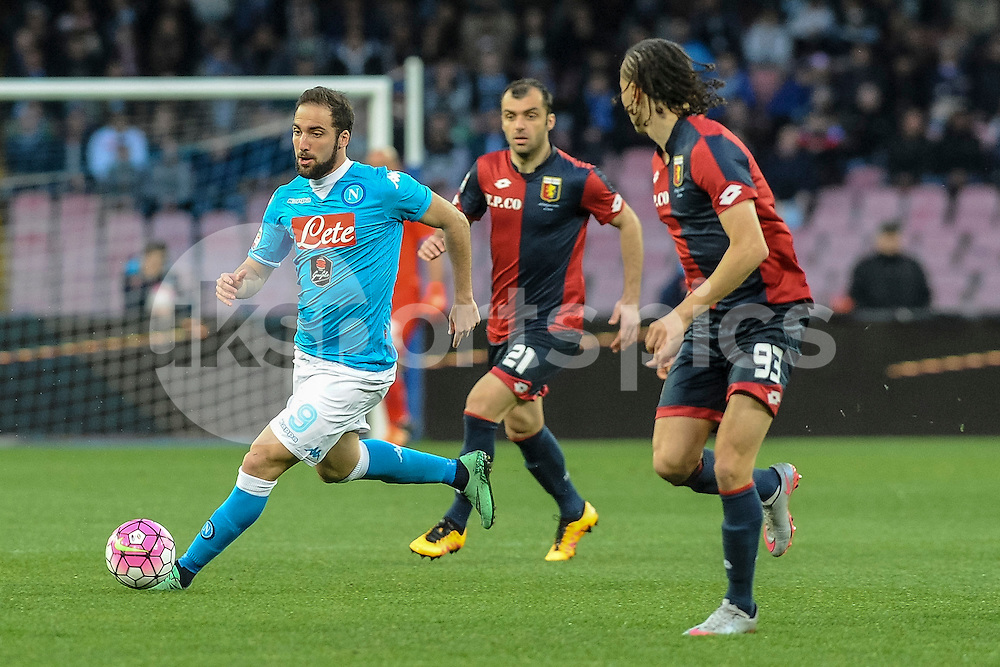 Gonzalo Higuain of Napoli during the Serie A TIM match between Napoli and Genoa at Stadio San Paolo, Naples, Italy on 20 March 2016. Photo by Franco Romano.