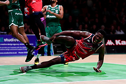 Daniel Edozie of Bristol Flyers picks up an injury during the game - Photo mandatory by-line: Ryan Hiscott/JMP - 28/12/2019 - BASKETBALL - Plymouth Pavilions - Plymouth, England - Plymouth Raiders v Bristol Flyers - British Basketball League Championship