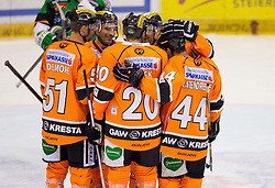 28.10.2012, Eisstadion Liebenau, Graz, AUT, EBEL, Graz 99ers vs HDD Olimpija Ljubljana, 16. Runde, im Bild Torjubel der 99ers, Thomas Vanek, (Graz 99ers, #20), Olivier Latendresse, (Graz 99ers, #44), Andy Delmore, (Graz 99ers, #51)  // during the Erste Bank Icehockey League 16th Round match betweeen Graz 99ers and HDD Olimpija Ljubljana at the Icehockey Stadium Liebenau, Graz, Austria on 2012/10/28. EXPA Pictures © 2012, PhotoCredit: EXPA/ M. Kuhnke