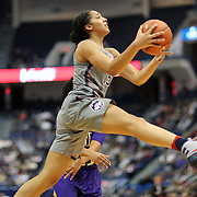 HARTFORD, CONNECTICUT- JANUARY 4:  Gabby Williams #15 of the Connecticut Huskies drives to the basket during the UConn Huskies Vs East Carolina Pirates, NCAA Women's Basketball game on January 4th, 2017 at the XL Center, Hartford, Connecticut. (Photo by Tim Clayton/Corbis via Getty Images)