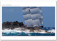 St Barths Bucket. St Barth's, French West Indies. The Maltese Falcon, 88m Pereni Navi, built with distinctive Dynarig, originally conceived in the sixties.