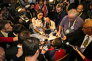 10/22/13 — BOSTON — Boston Red Sox designated hitter David Ortiz draws a large crowd during the World Series Media Day at Fenway Park on Oct. 22, 2013.