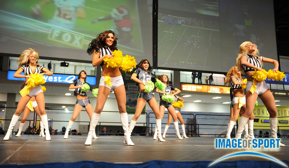 Dec 7, 2008; Seattle, WA, USA; Seattle Seahawks Sea Gals cheerleaders perform during tailgate festivities before the game against the New England Patriots at Qwest Field.