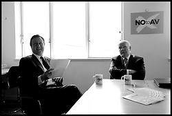 The Prime Minister David Cameron and former Labour Minister Lord Reid duirng a speech on NO to AV in Central London, Monday April 18, 2011. Photo By Andrew Parsons / i-Images.