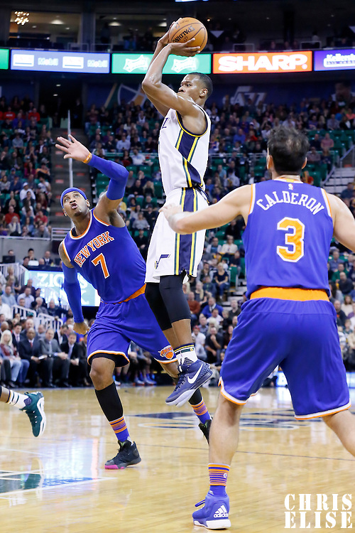 09 December 2015: Utah Jazz guard Rodney Hood (5) takes a jump shot over New York Knicks forward Carmelo Anthony (7) during the Utah Jazz 106-85 victory over the New York Knicks, at the Vivint Smart Home Arena, Salt Lake City, Utah, USA.