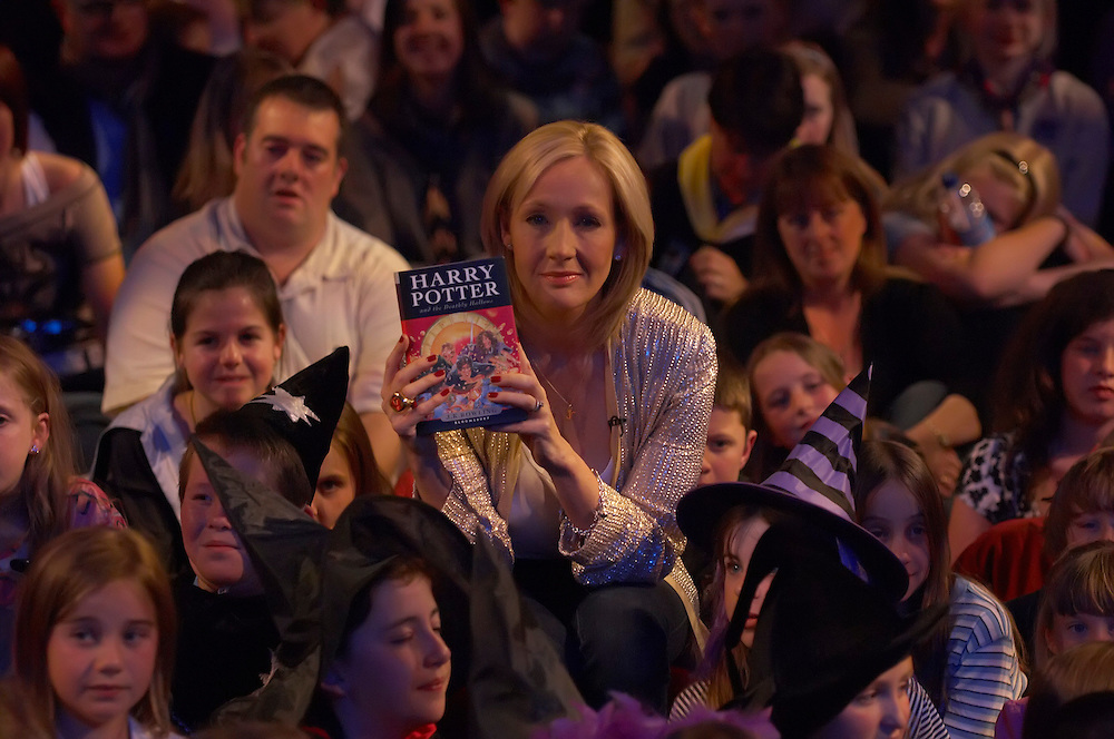 Author JK Rowling presents, to a selected audience of fans waiting to have their book signed, the seventh and final Harry Potter book at the National History Museum in London, England at 00:01 on Saturday 21st Jul 2007..