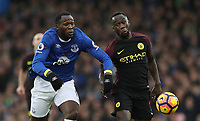 Football - 2016 / 2017 Premier League - Everton vs. Manchester City<br /> <br /> Romelu Lukaku of Everton and Bacary Sagna of Manchester City during the match at Goodison Park.<br /> <br /> COLORSPORT/LYNNE CAMERON