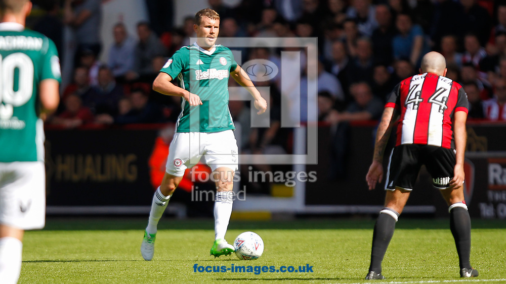 Andreas Bjelland of Brentford during the Sky Bet Championship match between Sheffield United and Brentford at Bramall Lane, Sheffield<br /> Picture by Mark D Fuller/Focus Images Ltd +44 7774 216216<br /> 05/08/2017