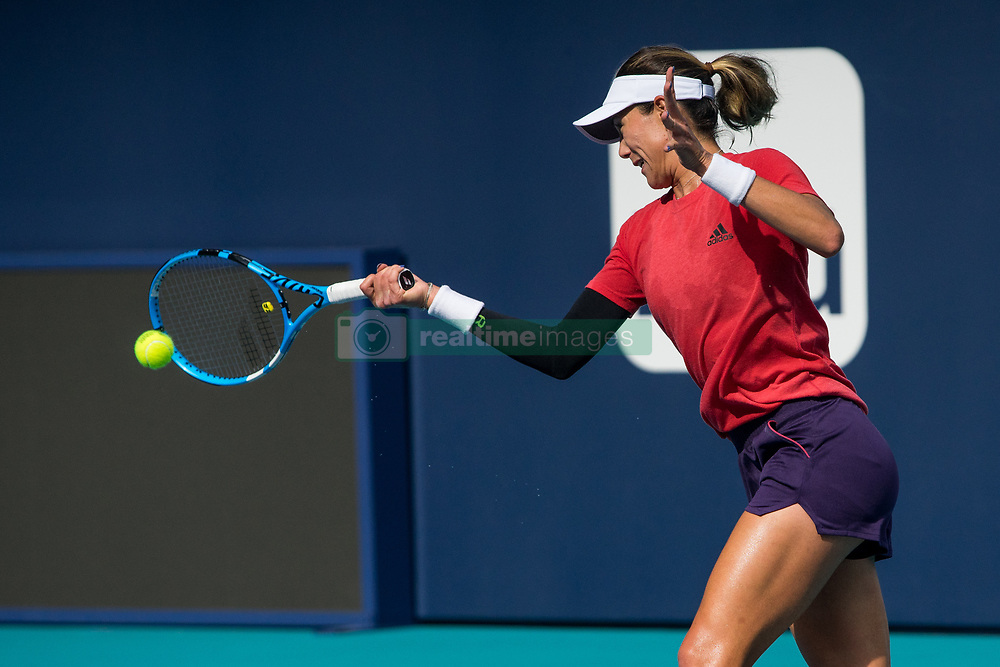 March 18, 2019 - Miami Gardens, FL, U.S. - MIAMI GARDENS, FL - MARCH 18: Garbi–e Muguruza (ESP) practices during the Miami Open on March 18, 2019 at Hard Rock Stadium in Miami Gardens, FL. (Photo by Aaron Gilbert/Icon Sportswire) (Credit Image: © Aaron Gilbert/Icon SMI via ZUMA Press)