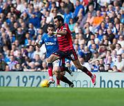 9th September 2017, Ibrox Park, Glasgow, Scotland; Scottish Premier League football, Rangers versus Dundee; Dundee's Sofien Moussa and Rangers' Graham Dorrans