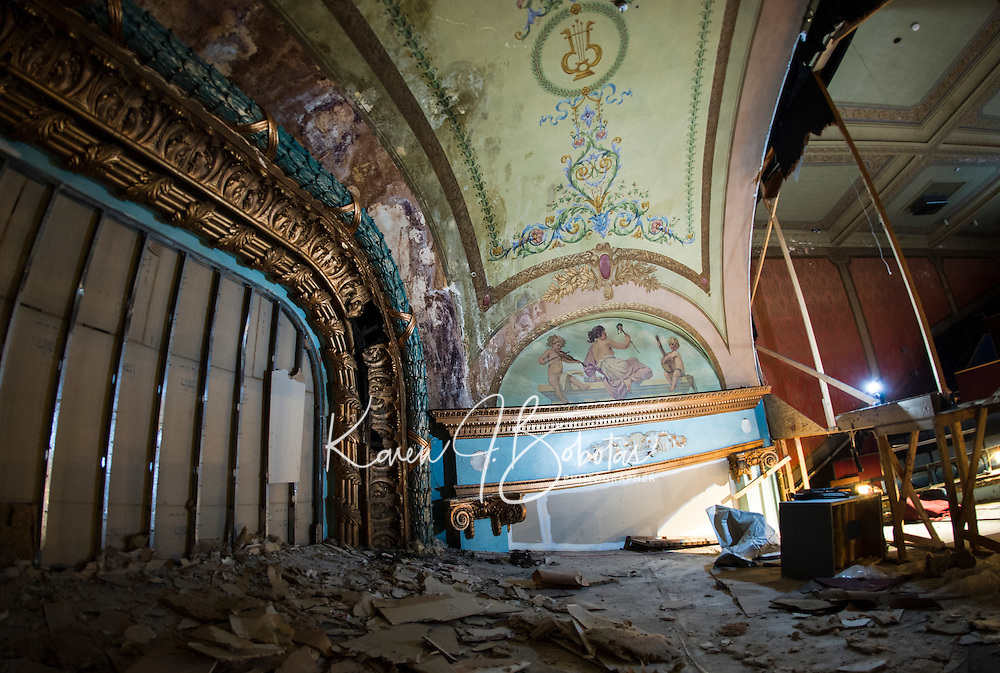 Renovation work done by Bonnette, Page and Stone at the Colonial Theater in downtown Laconia. Upper Balcony stage showing detailed paintings and woodwork.   ©2016 Karen Bobotas Photographer
