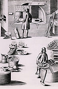 Refining of silver, showing (2) a test put into the furnace and (3) burning the silver in a test. A test warming (8) and a roaster for making burnt silver dry (9). From 1683 English edition of Lazarus Ercker 'Beschreibung allerfurnemisten mineralischen Ertzt- und Berckwercksarten' originally published in Prague in 1574. Copperplate engraving.