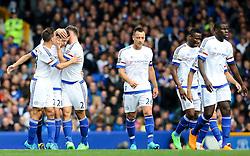 Nemanja Matic of Chelsea celebrates after scoring Chelsea's first goal - Mandatory byline: Matt McNulty/JMP - 07966386802 - 12/09/2015 - FOOTBALL - Goodison Park -Everton,England - Everton v Chelsea - Barclays Premier League